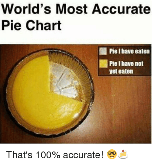 pie chart: World's Most Accurate  Pie Chart  ,1 Piel have eaten  Pie Ihave not  yet eaten That's 100% accurate! 🤓🍰