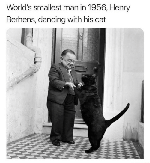 Dancing, Cat, and Henry: World's smallest man in 1956, Henry  Berhens, dancing with his cat