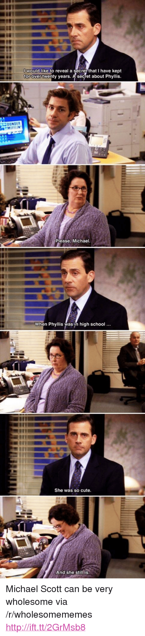 """Phyllis: would like to reveal a secret that I have kept  for over twenty years. A'séecret about Phyllis  Please. Michael  When Phyllis was jh high schoo!..  She was so cute  And she still is <p>Michael Scott can be very wholesome via /r/wholesomememes <a href=""""http://ift.tt/2GrMsb8"""">http://ift.tt/2GrMsb8</a></p>"""