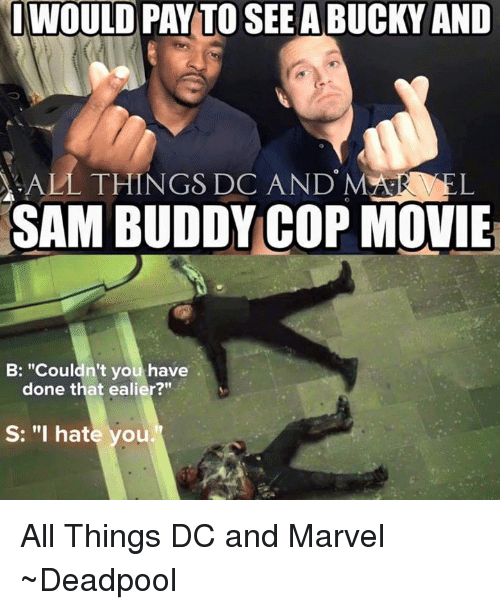 """I Hate You All: WOULD PAY TO SEE A BUCKY AND  ALL THINGS DC AND MAGE L  SAM BUDDY COP MOVIE  B: """"Couldn't you have  done that ealier?""""  S: """"I hate you. All Things DC and Marvel  ~Deadpool"""