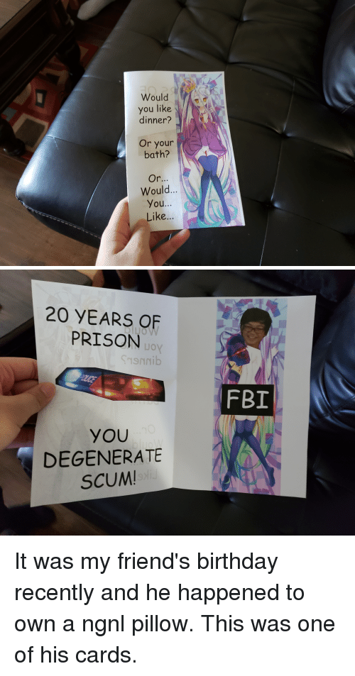 degenerate: Would  you like  dinner?  Or your  bath?  Would...  You...  Like...   20 YEARS OF  PRISON  JO  oy  FBI  YOU  DEGENERATE  SCUM It was my friend's birthday recently and he happened to own a ngnl pillow. This was one of his cards.