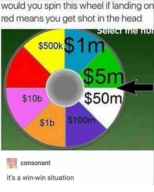 shot in the head: would you spin this wheel if landing on  red means you get shot in the head  s500K$1 m  5m  $50m  $10b  $1b $100  consonant  it's a win-win situation