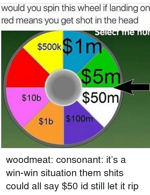 shot in the head: would you spin this wheel if landing on  red means you get shot in the head  $500KD1 m  $5m  $50m  $10b  $1b $100 woodmeat: consonant:  it's a win-win situation  them shits could all say $50 id still let it rip