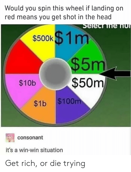 shot in the head: Would you spin this wheel if landing on  red means you get shot in the head  s500k$ 1m  $5m  $50m  $10b  $1b $100  consonant  it's a win-win situation Get rich, or die trying