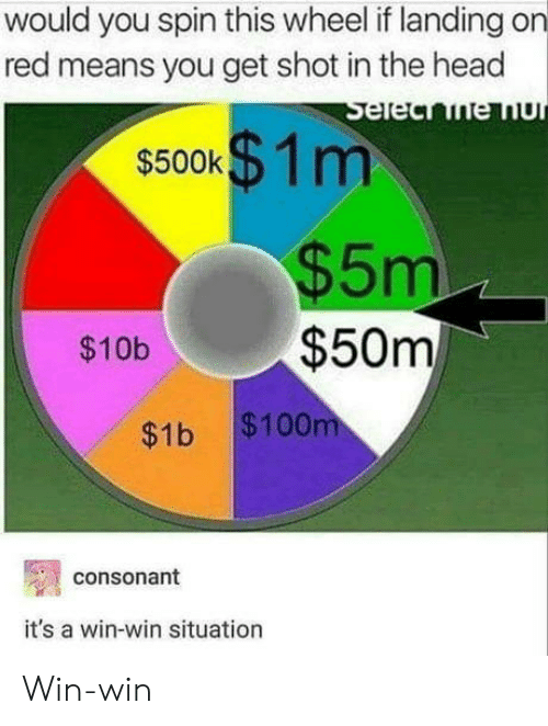shot in the head: would you spin this wheel if landing on  red means you get shot in the head  $500k  1 m  5m  $10b$50m  $1b $100  consonant  it's a win-win situation Win-win