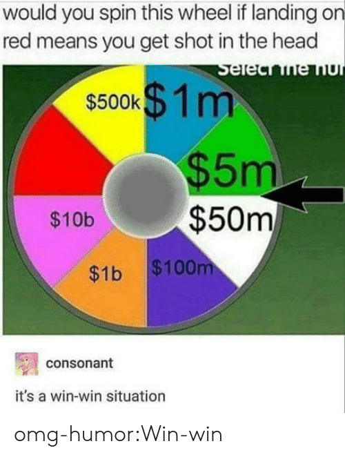 shot in the head: would you spin this wheel if landing on  red means you get shot in the head  $500k  1 m  5m  $10b$50m  $1b $100  consonant  it's a win-win situation omg-humor:Win-win