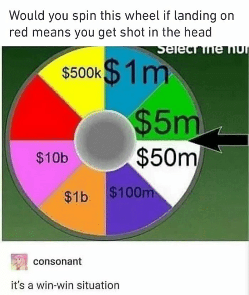 win-win-situation: Would you spin this wheel if landing on  red means you get shot in the head  s500k$ 1m  $5m  $50m  $10b  $1b $100  consonant  it's a win-win situation