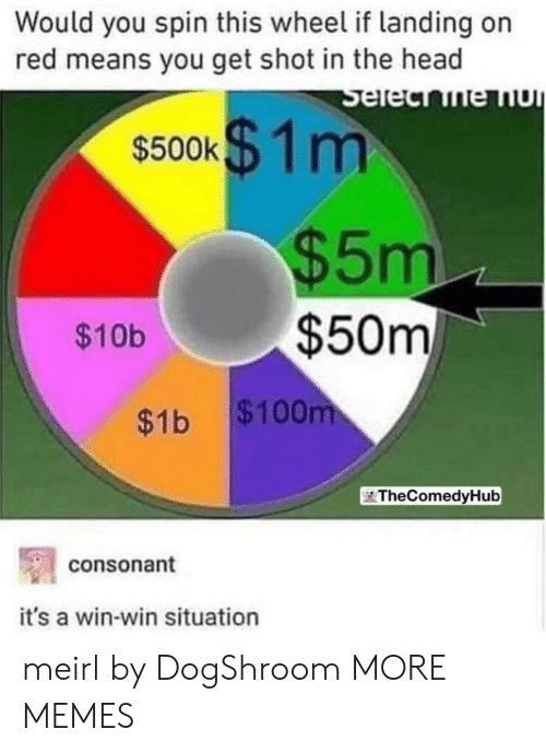shot in the head: Would you spin this wheel if landing on  red means you get shot in the head  $500k$1m  $5m  $50m  $10b  $1b $100  TheComedyHub  consonant  it's a win-win situation meirl by DogShroom MORE MEMES