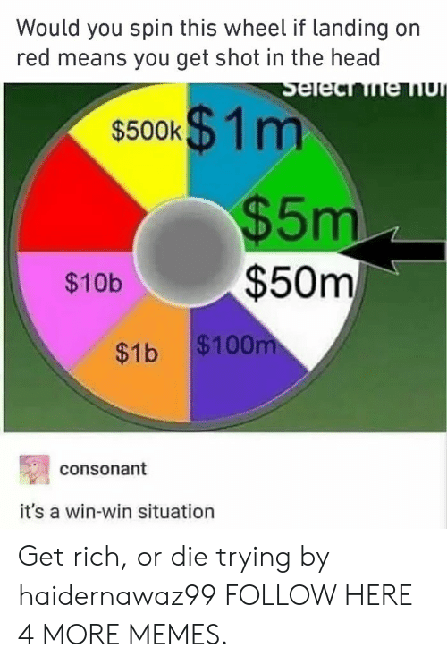 shot in the head: Would you spin this wheel if landing on  red means you get shot in the head  s500k$ 1m  $5m  $50m  $10b  $1b $100  consonant  it's a win-win situation Get rich, or die trying by haidernawaz99 FOLLOW HERE 4 MORE MEMES.