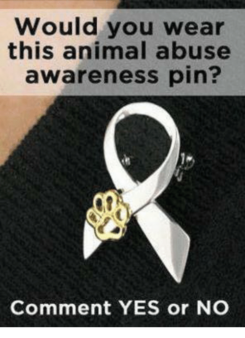 Animal Abuse: Would you wear  this animal abuse  awareness pin?  Comment YES or NO