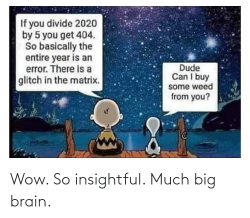 Wow: Wow. So insightful. Much big brain.