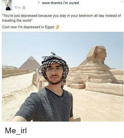 """Wow Thanks: wow thanks i'm cured  11 h  You're just depressed because you stay in your bedroom all day instead of  traveling the world""""  Cool now I'm depressed in Egypt ö Me_irl"""