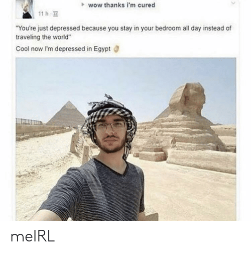 "traveling: wow thanks i'm cured  11 h  ""You're just depressed because you stay in your bedroom all day instead of  traveling the world""  Cool now I'm depressed in Egypt meIRL"