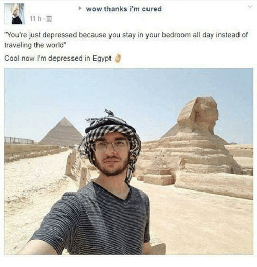 """Wow Thanks: wow thanks i'm cured  11h.  You're just depressed because you stay in your bedroom all day instead of  traveling the world""""  Cool now I'm depressed in Egypt"""