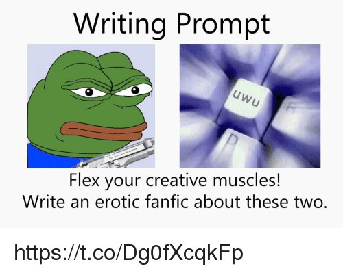 erotic: Writing Prompt  Flex your creative muscles!  Write an erotic fanfic about these two. https://t.co/Dg0fXcqkFp