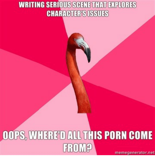 Porn, Net, and All: WRITING SERIOUS SCENE THAT EXPLORES  CHARACTER'SISSUES  OOPS, WHERED ALL THIS PORN COME  FROM?  memegenerator.net