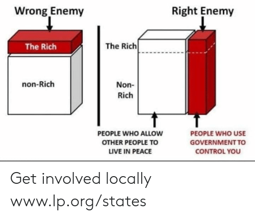 Get Involved: Wrong Enemy  Right Enemy  The Rich  The Rich  non-Rich  Non-  Rich  PEOPLE WHO ALLOW  OTHER PEOPLE TO  LIVE IN PEACE  PEOPLE WHO USE  GOVERNMENTTO  CONTROL YOU Get involved locally www.lp.org/states