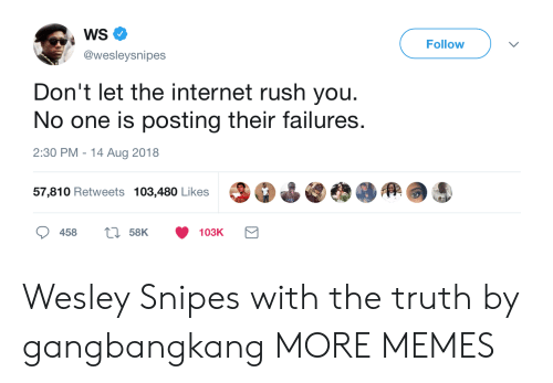 Rushes: WS  @wesleysnipes  Follow  Don't let the internet rush you.  No one is posting their failures.  2:30 PM-14 Aug 2018  57,810 Retweets 103,480 Likes Wesley Snipes with the truth by gangbangkang MORE MEMES