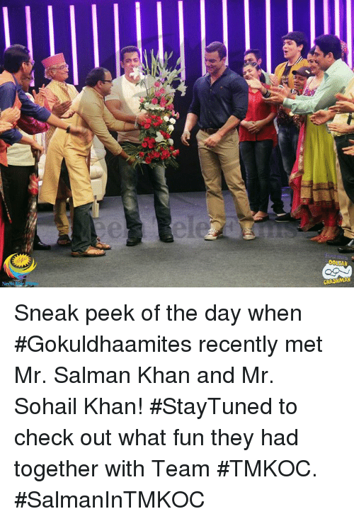 "Memes, Salman Khan, and 🤖: wseri"") Sneak peek of the day when #Gokuldhaamites recently met Mr. Salman Khan and Mr. Sohail Khan!  #StayTuned to check out what fun they had together with Team #TMKOC.  #SalmanInTMKOC"
