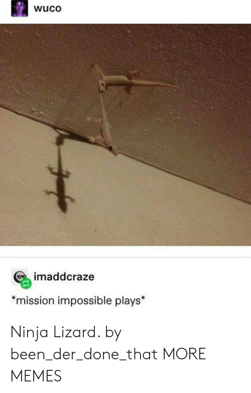 "mission: wuco  imaddcraze  *mission impossible plays"" Ninja Lizard. by been_der_done_that MORE MEMES"