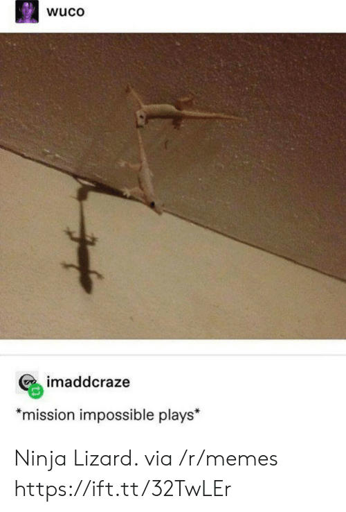 "mission: wuco  imaddcraze  *mission impossible plays"" Ninja Lizard. via /r/memes https://ift.tt/32TwLEr"
