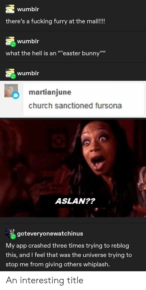 """easter bunny: wumblr  there's a fucking furry at the mall!!!  wumblr  what the hell is an """"""""easter bunny""""  ת6 ככ  wumblr  martianjune  church sanctioned fursona  ASLAN??  goteveryonewatchinus  My app crashed three times trying to reblog  this, and I feel that was the universe trying to  stop me from giving others whiplash. An interesting title"""