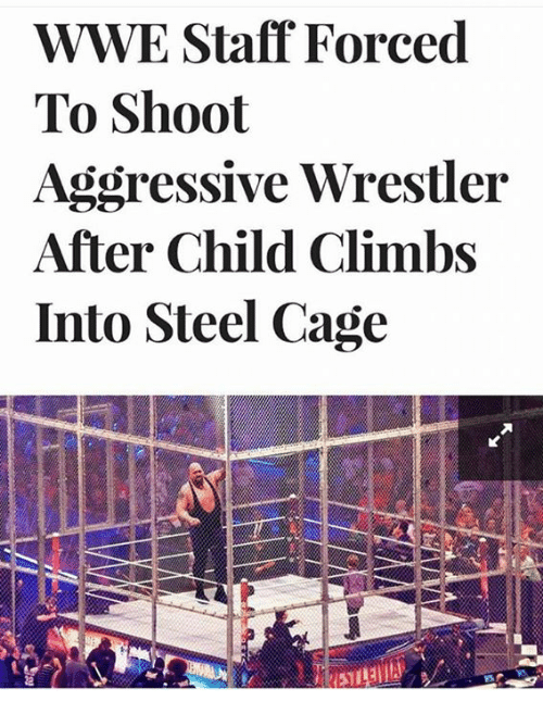 caging: WWE Staff Forced  To Shoot  Aggressive Wrestler  After Child Climbs  Into Steel Cage