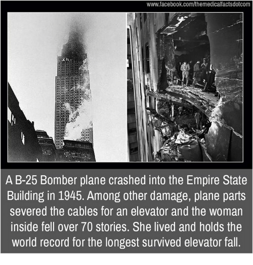 empirical: www.facebook.com/themedicalfactsdotcom  A B-25 Bomber plane crashed into the Empire State  Building in 1945. Among other damage, plane parts  severed the cables for an elevator and the woman  inside fell over 70 stories. She lived and holds the  world record for the longest survived elevator fall.