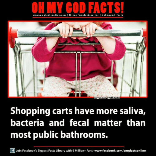 fecal matter: www.om gfacts online.com I fb.com/om g facts online I eohmygod-facts  mage tource Egokick.com  Shopping carts have more saliva,  bacteria and fecal matter than  most public bathrooms.  Join Facebook's Biggest Facts Library with 6 Million+ Fans- www.facebook.com/omgfactsonline