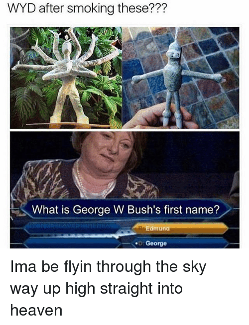 Up High: WYD after smoking these???  What is George W Bush's first name?  Edmund  George Ima be flyin through the sky way up high straight into heaven