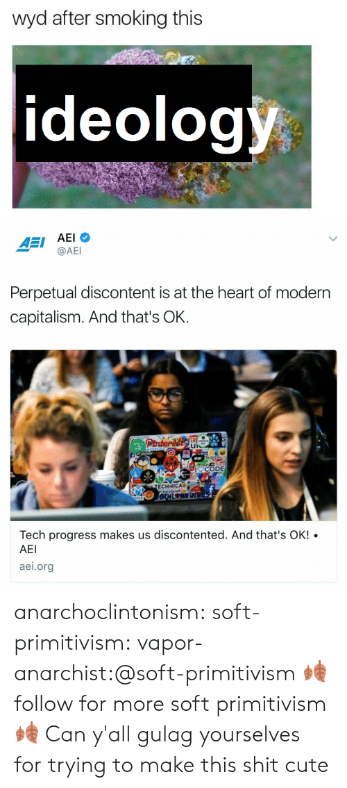 Cute, Shit, and Smoking: wyd after smoking this  ideology,   AEI AEI  @AEl  Perpetual discontent is at the heart of modern  capitalism. And that's OK.  I CODE  Tech progress makes us discontented. And that's OK! .  AEI  aei.org anarchoclintonism:  soft-primitivism:  vapor-anarchist:@soft-primitivism 🍂follow for more soft primitivism🍂  Can y'all gulag yourselves for trying to make this shit cute