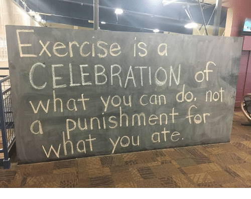Can, You, and What: xercise is a  CELEBRATION of  what you can do. not  a punishment for  what you ate