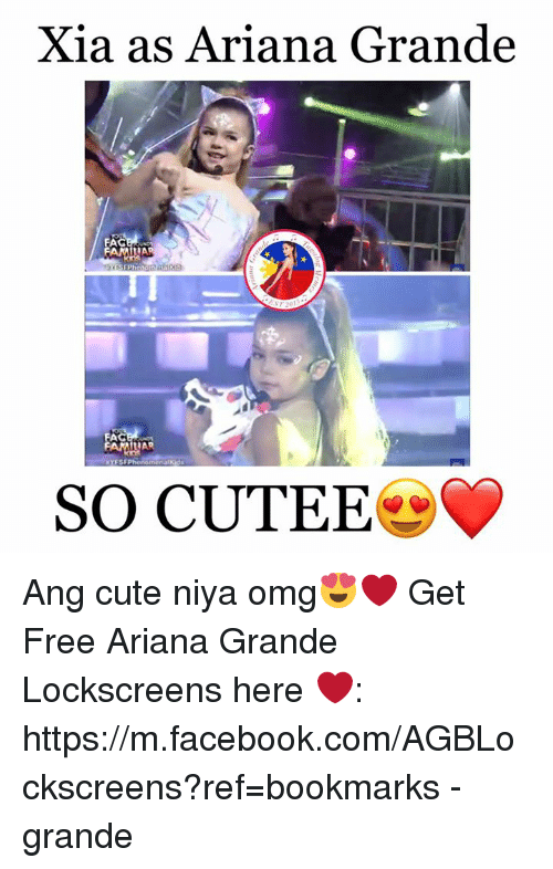 lockscreen: Xia as Ariana Grande  ILIA  YES Pheno  AG  LAP  omenatKid  SO CUTEE Ang cute niya omg😍❤  Get Free Ariana Grande Lockscreens here ❤️: https://m.facebook.com/AGBLockscreens?ref=bookmarks  -ⓔgrande