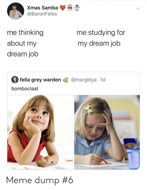 Fella: Xmas Samba  @BaronFeles  me thinking  me studying for  about my  my dream job  dream job  fella grey warden  @margblya 1d  bomboclaat Meme dump #6