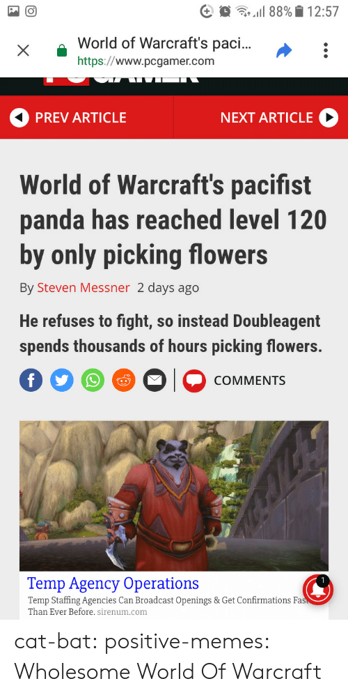World of Warcraft: xWorld  of Warcraft's pac...:  https://www.pcgamer.com  PREV ARTICLE  NEXT ARTICLE  World of Warcraft's pacifist  panda has reached level 120  by only picking flowers  By Steven Messner 2 days ago  He refuses to fight, so instead Doubleagent  spends thousands of hours picking flowers.  COMMENTS  Temp Agency Operations  Temp Staffing Agencies Can Broadcast Openings & Get Confirmations Fa  Than Ever Before. sirenum.com cat-bat:  positive-memes: Wholesome World Of Warcraft