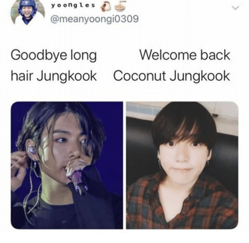Hair, Back, and Long Hair: y o ongles  @meanyoongi0309  Welcome back  Goodbye long  hair Jungkook  Coconut Jungkook