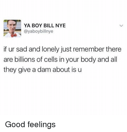 Bill Nye, Good, and Sad: YA BOY BILL NYE  @yaboybillnye  if ur sad and lonely just remember there  are billions of cells in your body and all  they give a dam about is u Good feelings