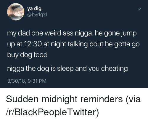 Jump Up: ya dig  @bvdgxl  my dad one weird ass nigga. he gone jump  up at 12:30 at night talking bout he gotta go  buy dog food  nigga the dog is sleep and you cheating  3/30/18, 9:31 PM <p>Sudden midnight reminders (via /r/BlackPeopleTwitter)</p>