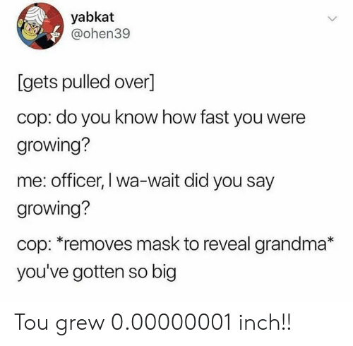 Grandma, Mask, and How: yabkat  @ohen39  [gets pulled over]  cop: do you know how fast you were  growing?  me: officer, I wa-wait did you say  growing?  cop: *removes mask to reveal grandma*  you've gotten so big Tou grew 0.00000001 inch!!