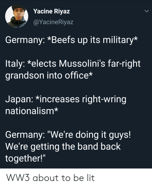 "Were Getting: Yacine Riyaz  @YacineRiyaz  Germany: *Beefs up its military*  ltaly: *elects Mussolini's far-right  grandson into office*  Japan: *increases right-wring  nationalism*  Germany: ""We're doing it guys!  We're getting the band back  together!"" WW3 about to be lit"