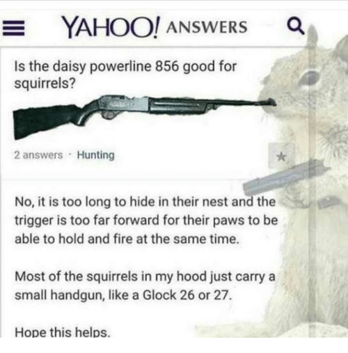 Triggere: YAH  OO! ANSWERS Q  Is the daisy powerline 856 good for  squirrels?  2 answers Hunting  No, it is too long to hide in their nest and the  trigger is too far forward for their paws to be  able to hold and fire at the same time.  Most of the squirrels in my hood just carry a  small handgun, like a Glock 26 or 27.  Hope this helps