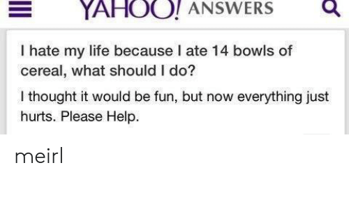 Life, Help, and Yahoo: YAHOO! ANSWERSQ  I hate my life because I ate 14 bowls of  cereal, what should I do?  I thought it would be fun, but now everything just  hurts. Please Help. meirl