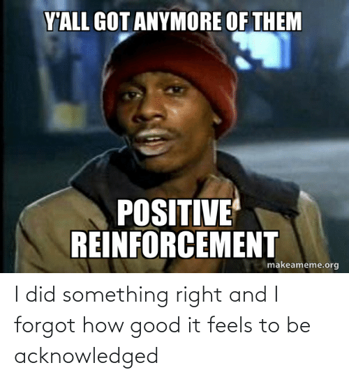 Reinforcement: Y'ALL GOT ANYMORE OF THEM  POSITIVE  REINFORCEMENT  makeameme.org I did something right and I forgot how good it feels to be acknowledged