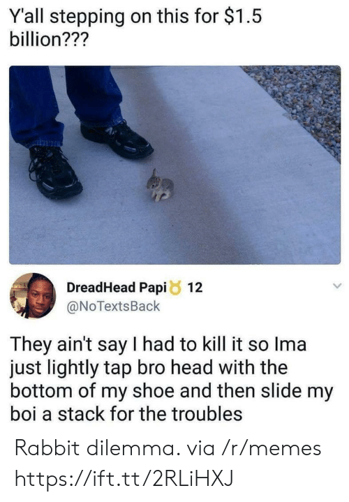 Head, Memes, and Rabbit: Y'all stepping on this for $1.5  billion???  DreadHead Papi8 12  @NoTextsBack  They ain't say I had to kill it so Ima  just lightly tap bro head with the  bottom of my shoe and then slide my  boi a stack for the troubles Rabbit dilemma. via /r/memes https://ift.tt/2RLiHXJ