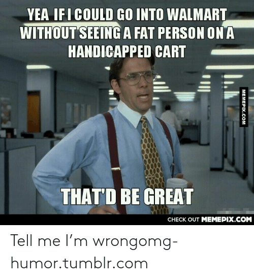 fat person: YEA IFI COULD GO INTO WALMART  WITHOUT SEEING A FAT PERSON ON A  HANDICAPPED CART  THAT'D BE GREAT  CHECK OUT MEMEPIX.COM  MEMEPIX.COM Tell me I'm wrongomg-humor.tumblr.com