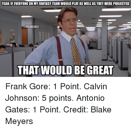 Frank Gore: YEAH, IFEVERYONE ON MY FANTASYTEAMWOULD PLAY AS WELLASTHEY WERE PROJECTED  CONFLMEMEZ  THAT WOULD BE GREAT Frank Gore: 1 Point. Calvin Johnson: 5 points. Antonio Gates: 1 Point.  Credit: Blake Meyers