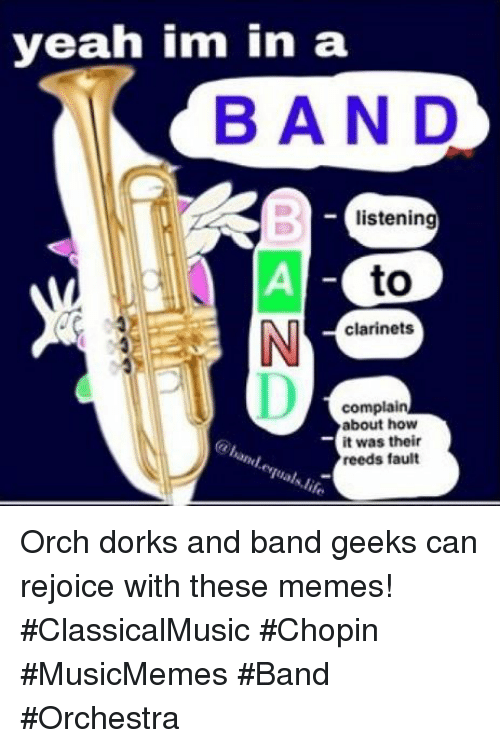 Memes, Yeah, and Band: yeah im in a  BAND  listening  to  clarinets  complain  about how  it was their  reeds fault Orch dorks and band geeks can rejoice with these memes! #ClassicalMusic #Chopin #MusicMemes #Band #Orchestra