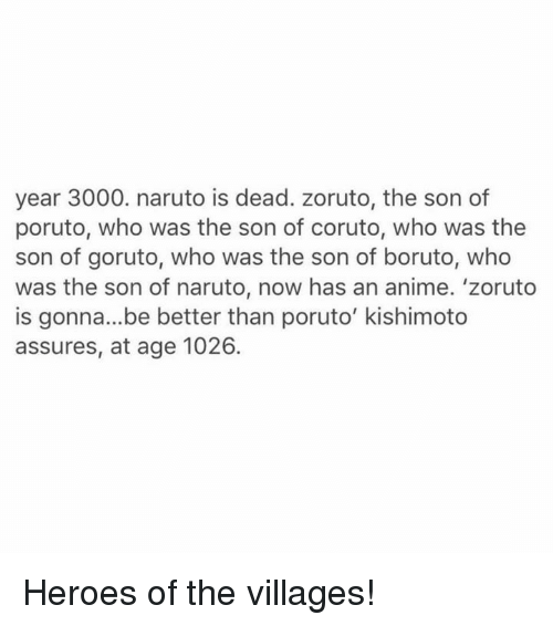 Year 3000 Naruto Is Dead Zoruto the Son of Poruto Who Was the Son of