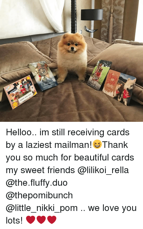 Memes, 🤖, and Fluffy: YEAR!  N  HAPPY Helloo.. im still receiving cards by a laziest mailman!😆Thank you so much for beautiful cards my sweet friends @lilikoi_rella @the.fluffy.duo @thepomibunch @little_nikki_pom .. we love you lots! ❤️❤️❤️