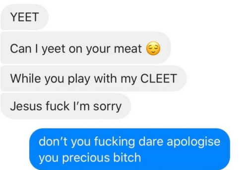 Bitch, Fucking, and Jesus: YEET  Can I yeet on your meat  While you play with my CLEET  Jesus fuck I'm sorry  don't you fucking dare apologise  you precious bitch